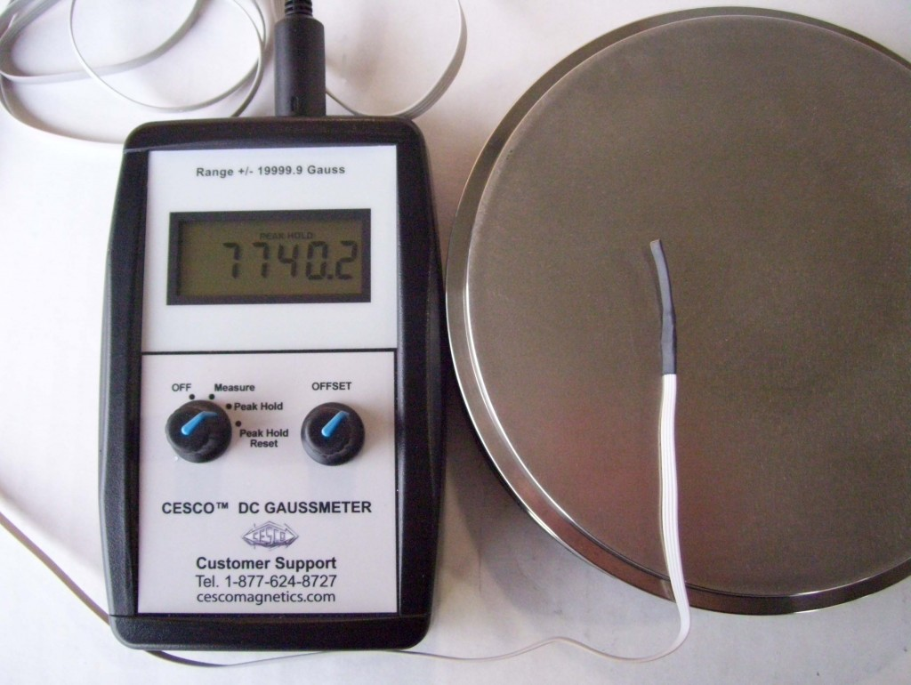 Gaussmeter undergoing calibration